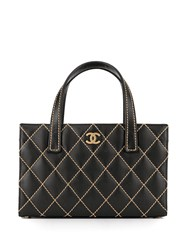 Chanel Vintage Wild Stitch Quilted Tote Bag Black