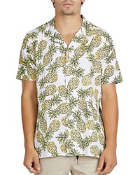 Barney Cools Pineapple Print Slim Fit Button Down Shirt White