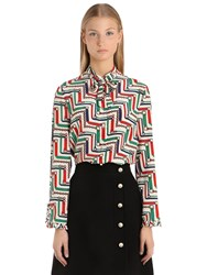 Gucci Bow Detail Printed Silk Cady Crepe Shirt