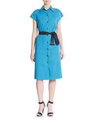 Karolina Zmarlack Faux Suede Shirtdress Intense Blue