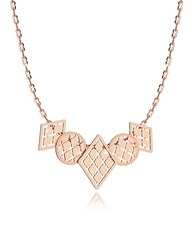 Rebecca Melrose Rose Gold Over Bronze Necklace W Five Geometric Charms Pink