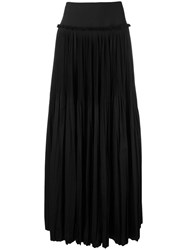 Alberta Ferretti Pleated Maxi Skirt Women Cotton Polyester 44 Black