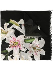 Dolce And Gabbana Lily Print Twill Scarf Black