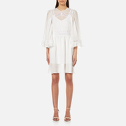 Mcq By Alexander Mcqueen Women's Volume Sleeve Dress With Slip Ivory White