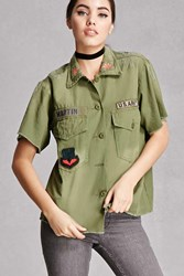 Forever 21 Twelve Army Patch Shirt Olive