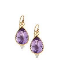Jude Frances Judefrances Jewelry 18K Large Pear Amethyst And Diamond Dangle And Drop Earring Charms Women's