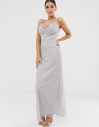 Lipsy Embellished Cowl Front Maxi Dress In Silver