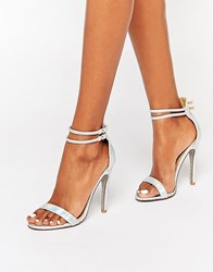 Public Desire Starlin Silver Holographic Barely There Heeled Sandals Silver Holographic