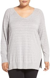 Sejour Plus Size Women's Rib Detail V Neck Pullover Grey Stripe