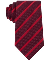 Sean John Men's Diamond Texture Stripe Tie Red