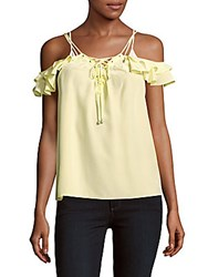 The Kooples Solid Cold Shoulder Silk Top Yellow