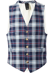 People Checked Waistcoat White