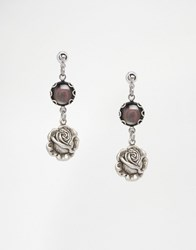 Regal Rose True Romance Black Mother Of Pearl Rose Bud Earrings Silver