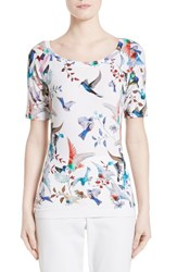 St. John Women's Collection African Sparrows Print Jersey Tee