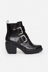 Opening Ceremony Shiny Calf Grunge Belt Buckle Booties Black
