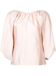 Gabriela Hearst Draped Flared Blouse Nude And Neutrals