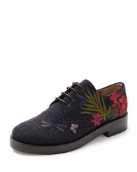Laurence Dacade Homere Embroidered Wool Oxford Blue Wine Multi Blue Wine Multi E
