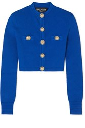 Balmain Button Embellished Jacquard Knit Cardigan Cobalt Blue