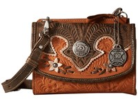 American West Desert Wildflower Crossbody Bag Wallet Golden Tan Distressed Charcoal Cream Cross Body Handbags Brown