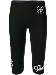 Off White Cropped Jogging Trousers Black