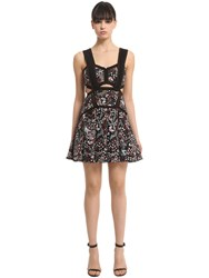 Self Portrait Floral Jacquard Mini Dress