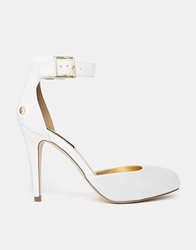 Blink Ankle Strap Heeled Shoes Whitepatent