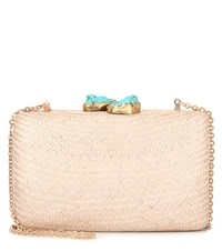 Kayu Jen Embellished Straw Box Clutch Beige