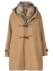 Moncler Fur Lined Narcissus Coat Polyamide Virgin Wool Goose Down Nude Neutrals