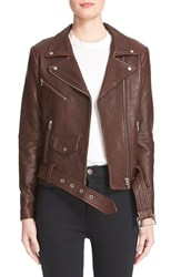 Veda Women's 'Jayne' Lambskin Leather Moto Jacket Oak