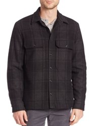 Vince Plaid Military Shirt Jacket Black Grey