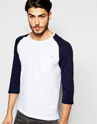 Produkt Contrast Raglan 3 4 Length Sleeve Top Whitenavy
