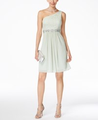 Adrianna Papell One Shoulder Lace Dress Mint