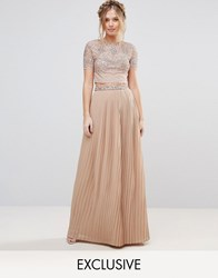 Maya Pleated Maxi Skirt With Embellished Waistband Mink Brown