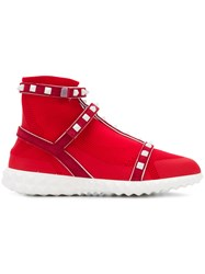 Valentino Studded Style Sneakers Red