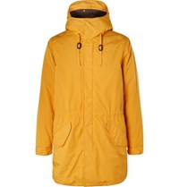Aspesi Faux Shearling Lined Shell Hooded Parka Yellow