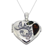Goldmajor Sterling Silver Amber Heart Locket Pendant Silver