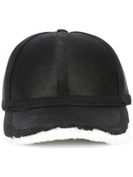 Neil Barrett Leather And Shearling Baseball Cap Black