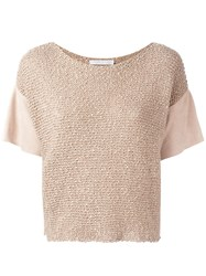 Fabiana Filippi Knitted Detail Top Nude Neutrals