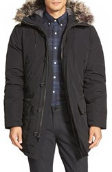 Men's Michael Kors Long Hooded Parka With Faux Fur Trim