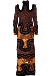 Tom Ford Cutout Sequined Velvet Gown Black