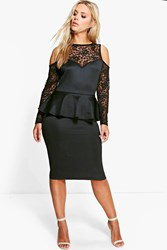 Boohoo Lianna Lace Detail Peplum Dress Black