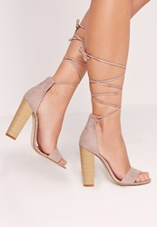 Missguided Block Heel Barely There Sandals Grey Grey