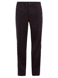 Oliver Spencer Checked Drawstring Wool Blend Trousers Navy