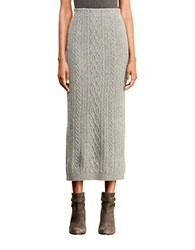 Lauren Ralph Lauren Cable Knit Wool Skirt Concrete