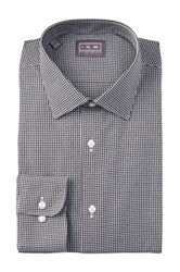 Ike Behar Twill Gingham Full Fit Dress Shirt Black