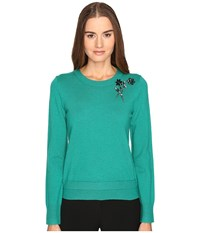 Kate Spade Embellished Brooch Sweater Emerald Ring Women's Sweater Green
