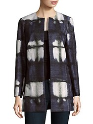 Lafayette 148 New York Open Front Tie Dyed Jacket Smoke Blue