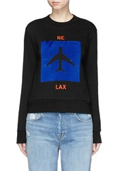 Etre Cecile 'Re Lax' Velvet Airplane Cotton Fleece Sweatshirt Black