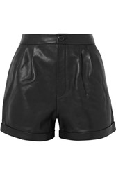 Frame Pleated Leather Shorts Black