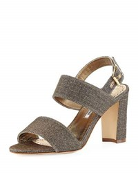 Manolo Blahnik Khans Metallic Two Band Sandal Bronze